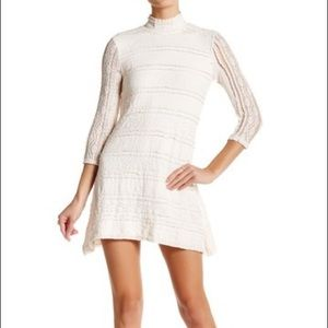 Be Bop 3/4 Length Sleeve Mock Neck Lace Dress
